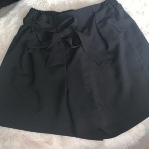 Cute black summer dress up shorts with a bow
